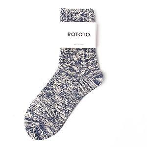 ROTOTO Low Gauge Slub Ankle Socks Navy