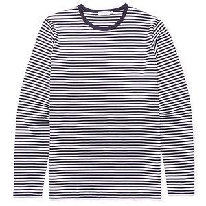 SUNSPEL Men's Cotton Long Sleeve T-Shirt in Navy/White English Stripe