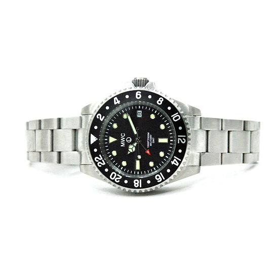 MWC GMT Dual Timezone Stainless Steel Military Watch on Matching Bracelet