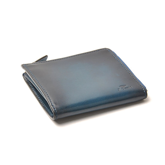 IL BUSSETTO Folding Zipped Wallet Navy