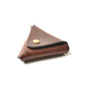 ART BROWN UK Saddle Leather Triangle Coin Purse Dark Brown