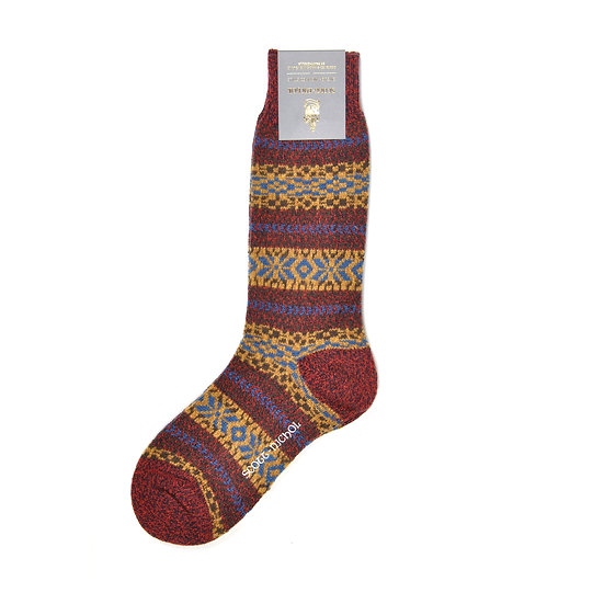 Scott-Nichol by Pantherella Farne Country Fairisle Stripe Socks