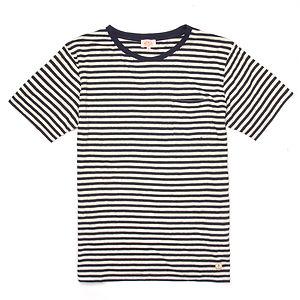 ARMOR-LUX Striped Cotton Linen T-shirt Héritage White/Navy
