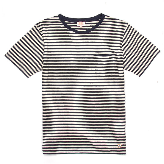 ARMOR-LUX Striped Cotton Linen T-shirt Héritage White/Navy