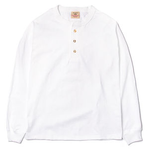 GOODWEAR Classic Fit Long Sleeve Henley Neck Tee White