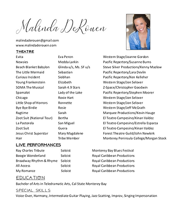Malinda DeRouen Theatrical Resume