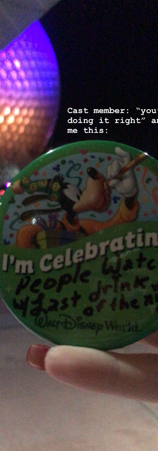 """The BEST """"I'm Celebrating"""" button I got from a cast member at the Epcot gate on my last night in Disney!"""