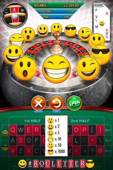 UI design for 'Rouletter', a Roulette themed mobile gambling app.