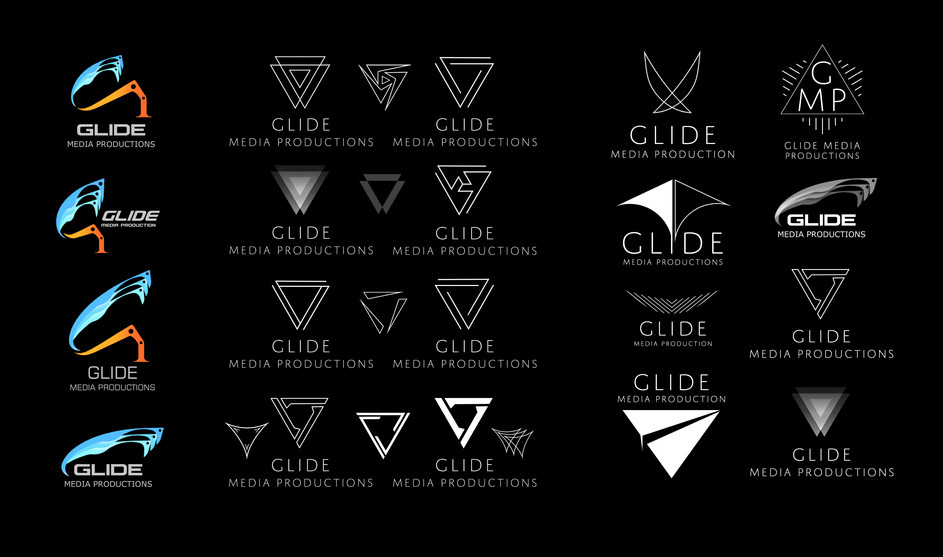 Various designs for Glide Media Production logo.