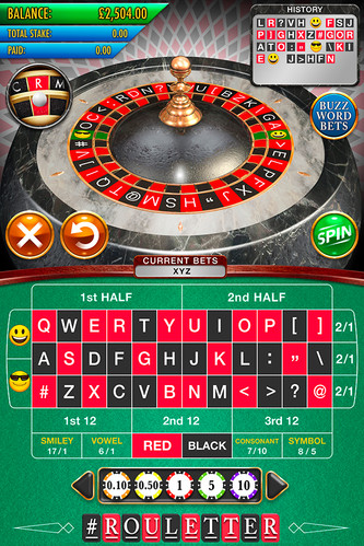 Main screen UI layout for 'Rouletter', a Roulette themed mobile gambling app.