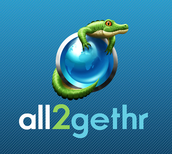 Branding & Logo Design for 'All2gethr', a fictional social media company, part of the Panic Button movie marketing campaign.