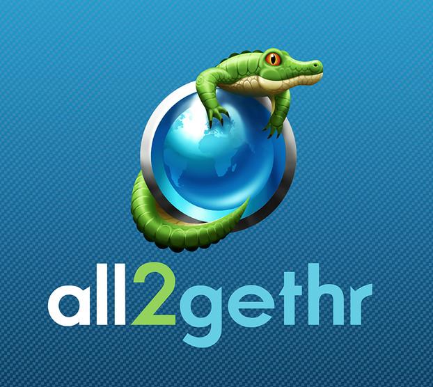Branding & Logo Design for 'All2gethr', a fictional social media company, part of the Panic Button movie marketing campaign.
