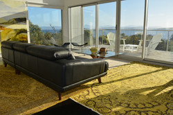 living room with view and sofa