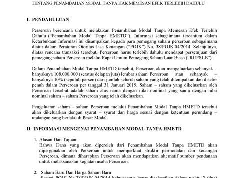 Keterbukaan Informasi Kepada Para Pemegang Saham PT. ATELIERS MECANIQUES D'INDONESIE, Tbk (&quot
