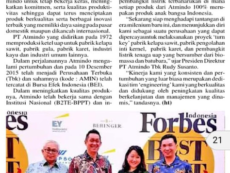 "PT. ATMINDO TBK ""TOP 50 BEST COMPANIES IN INDONESIA"" Oleh FORBES INDONESIA"