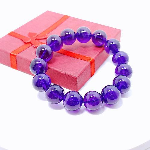 H007 天然紫水晶珠手鏈 14mm  RMB1180.00