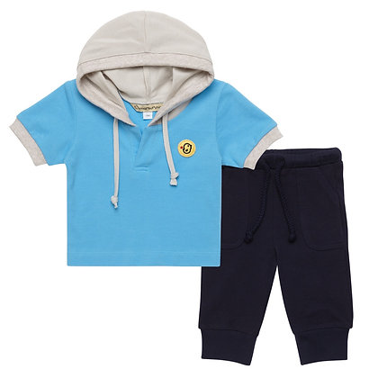 Set of Hoodie T-shirt and pants(Blue)