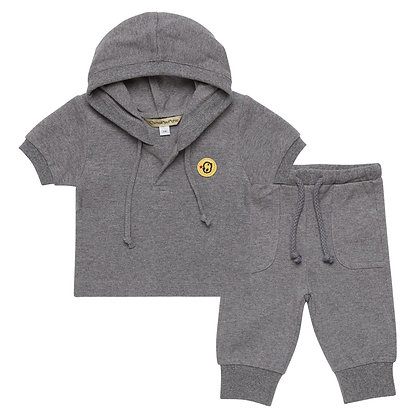 Set of Hoodie T-shirt and pants(Grey)