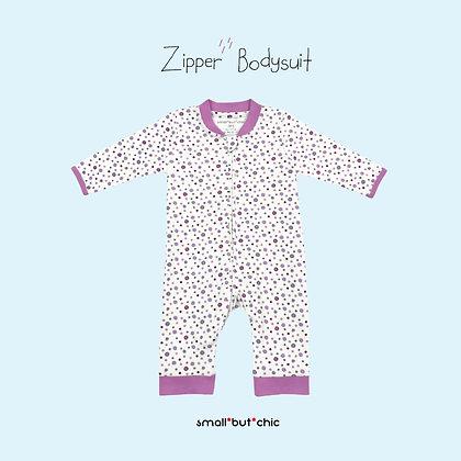 Zipper Bodysuit(Purple Dot)