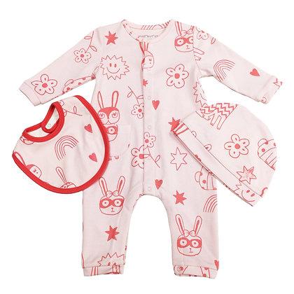 3 pcs set - Pink bunny