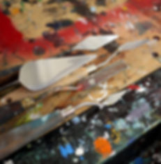 palette knife,canvas,oil