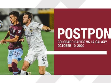 Rapids - Galaxy match postponed