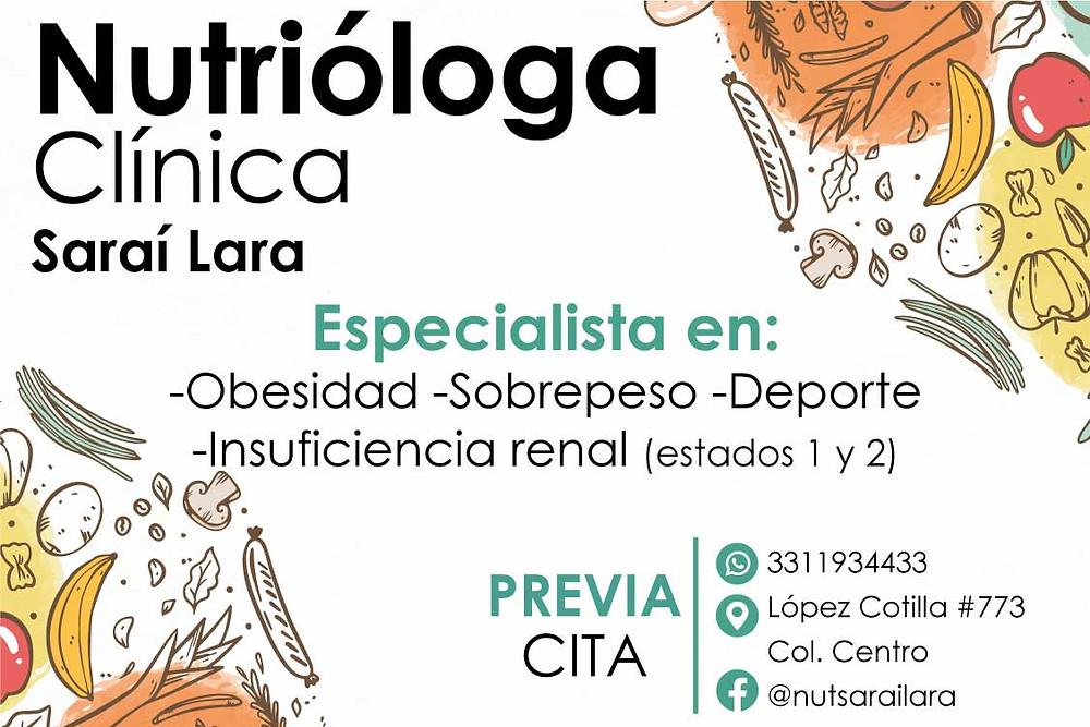 Nutrióloga Saraí Lara