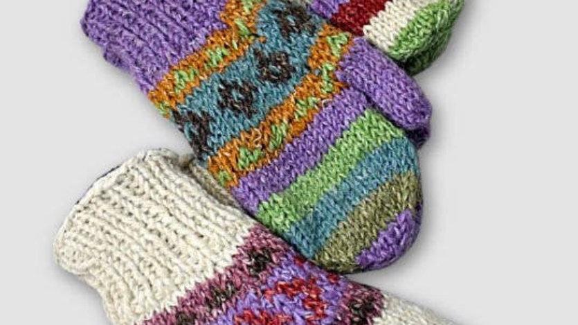 Wool hemp blend fleece lined knit mittens