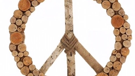 Peace wood wreath