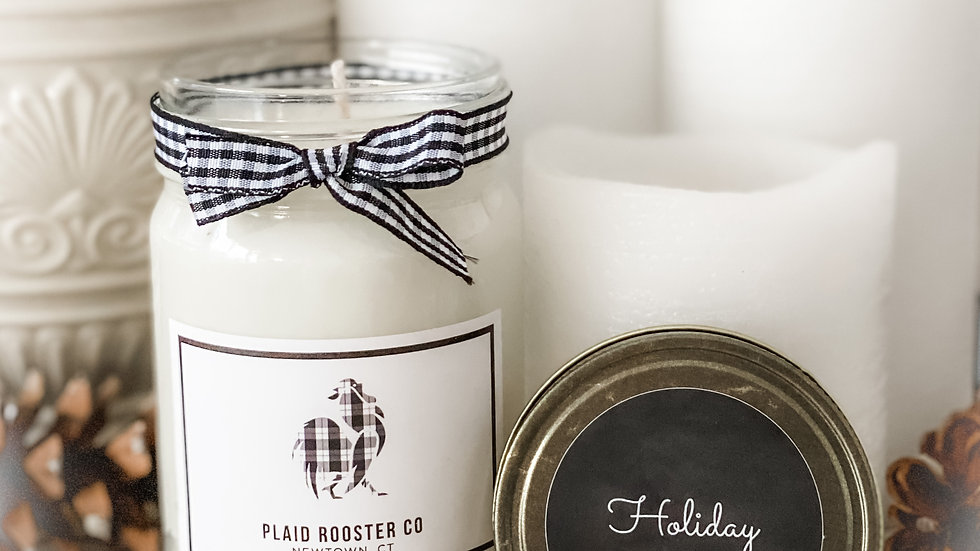 Plaid Rooster Co Holiday Cheer Candle - 12oz mason jar