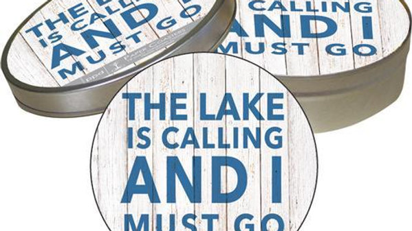 The Lake is Calling and I Must Go Coasters in Tin