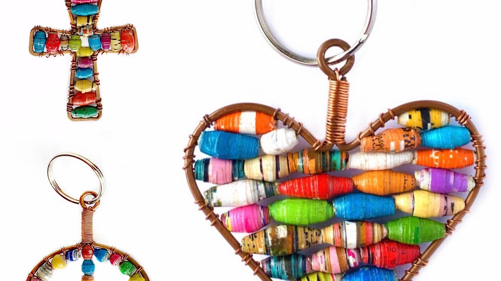 Fairtrade handmade paper bead keychain for orphans