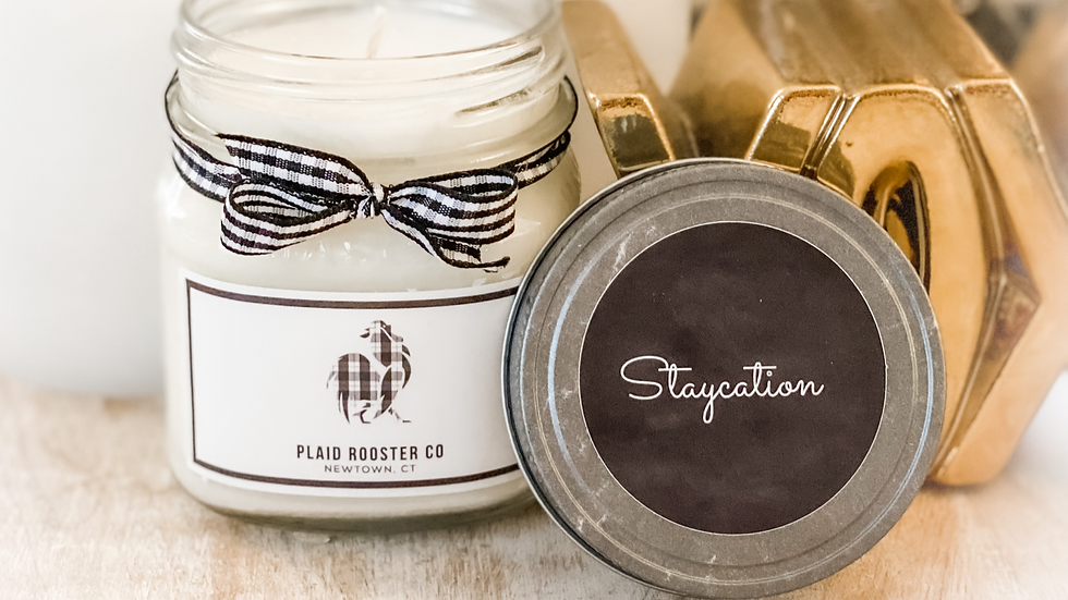 Plaid Rooster Co Staycation Candle - 8oz mason jar