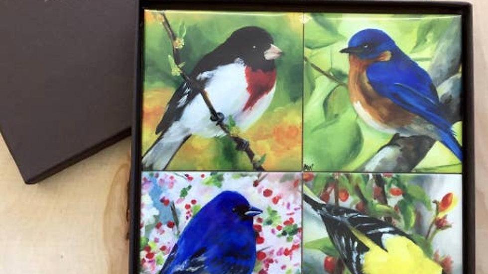 Handpainted bird coasters in gift box