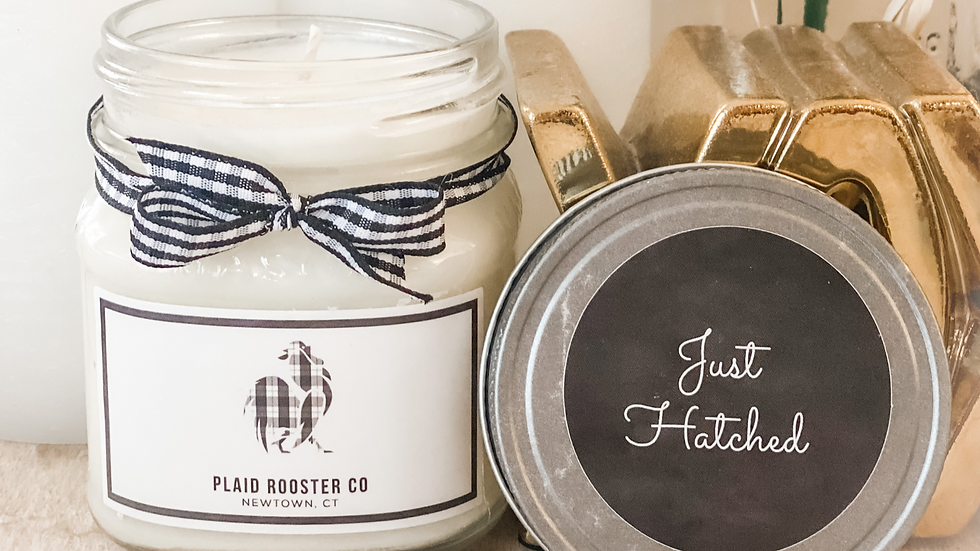 Plaid Rooster Co Just Hatched Candle - 8oz mason jar