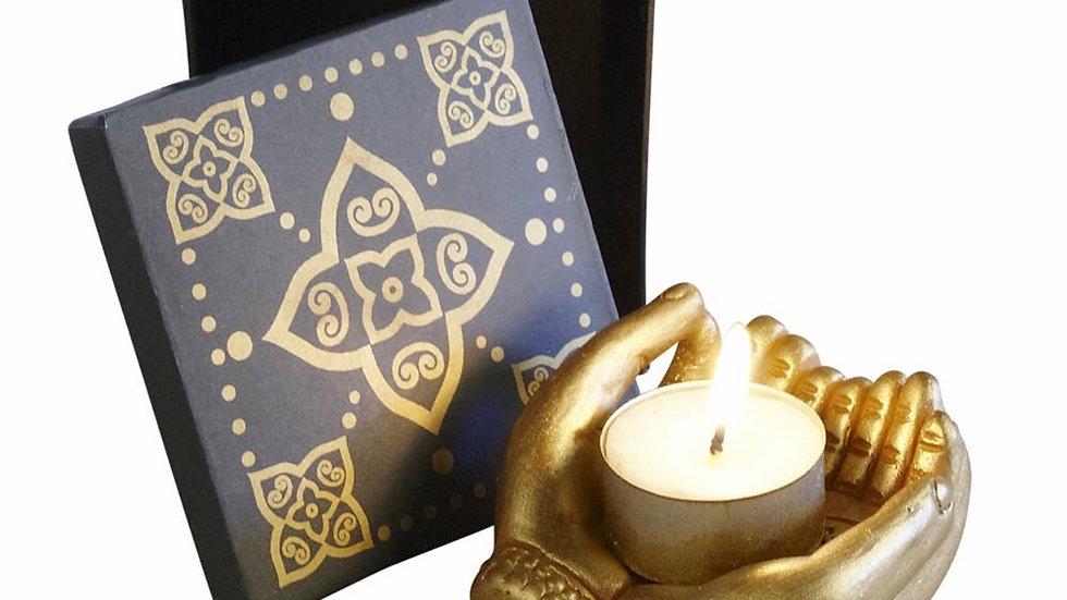 Handmade fairtrade sharing light hands tea light holder