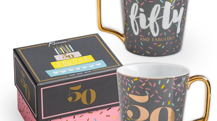 50 milestone birthday mug with gift box