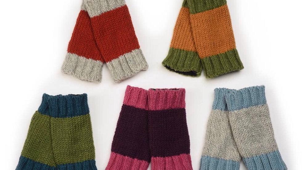 Unisex fleece lined wool fingerless gloves