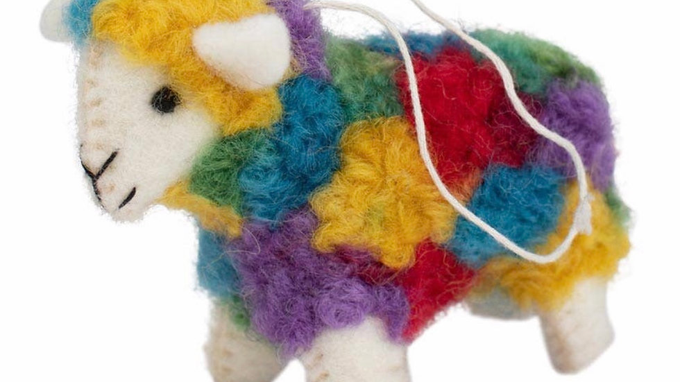 Handmade fairtrade rainbow sheep ornament