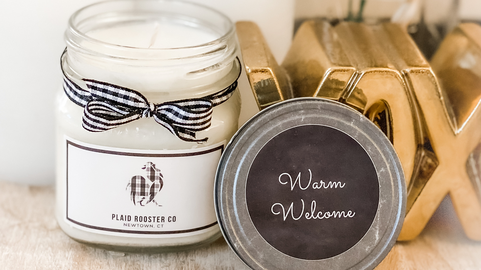 Plaid Rooster Warm Welcome Candle - 8oz mason jar