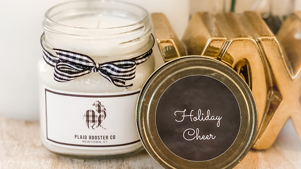 Plaid Rooster Co Holiday Cheer Candle - 8oz mason jar