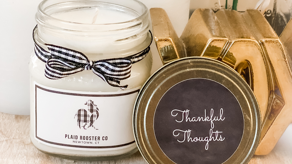 Plaid Rooster Thankful Thoughts Candle - 8oz mason jar