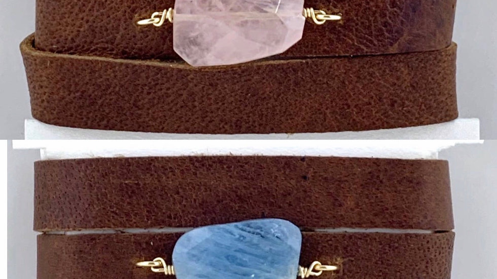 Hide & Stone leather wrap gemstone bracelet