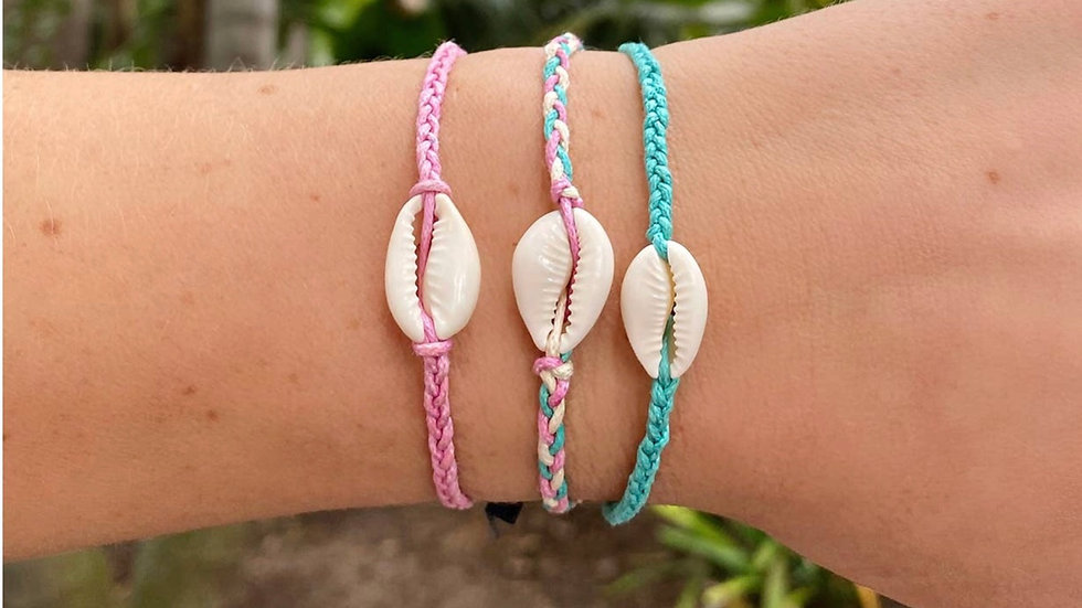 Lotus and Luna braided shell bracelet
