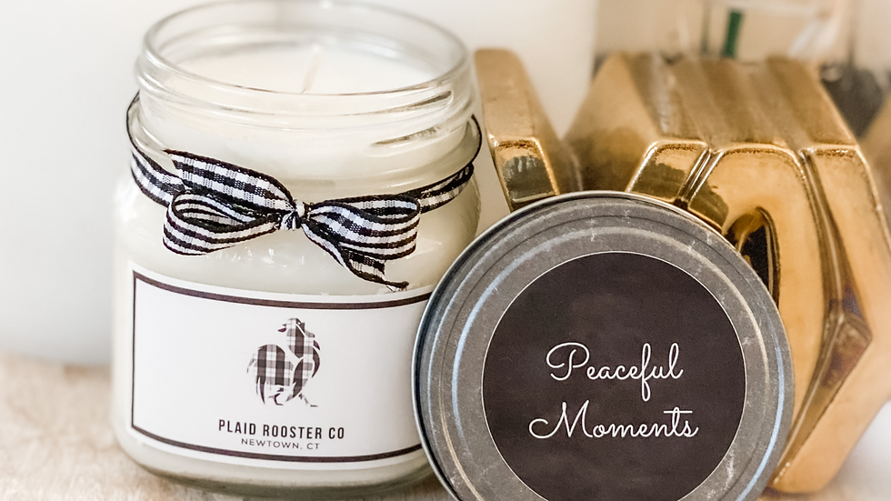Plaid Rooster Peaceful Moments Candle - 8oz mason jar