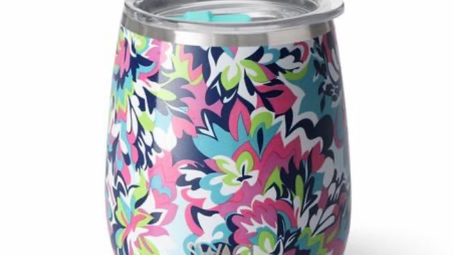 Swig14oz stemless wine tumbler (frilly lily)