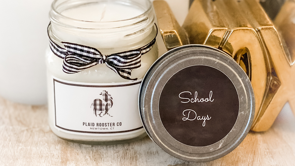 Plaid Rooster Co School Days Candle -8oz mason jar