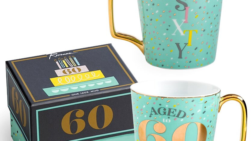 60 milestone birthday mug with gift box