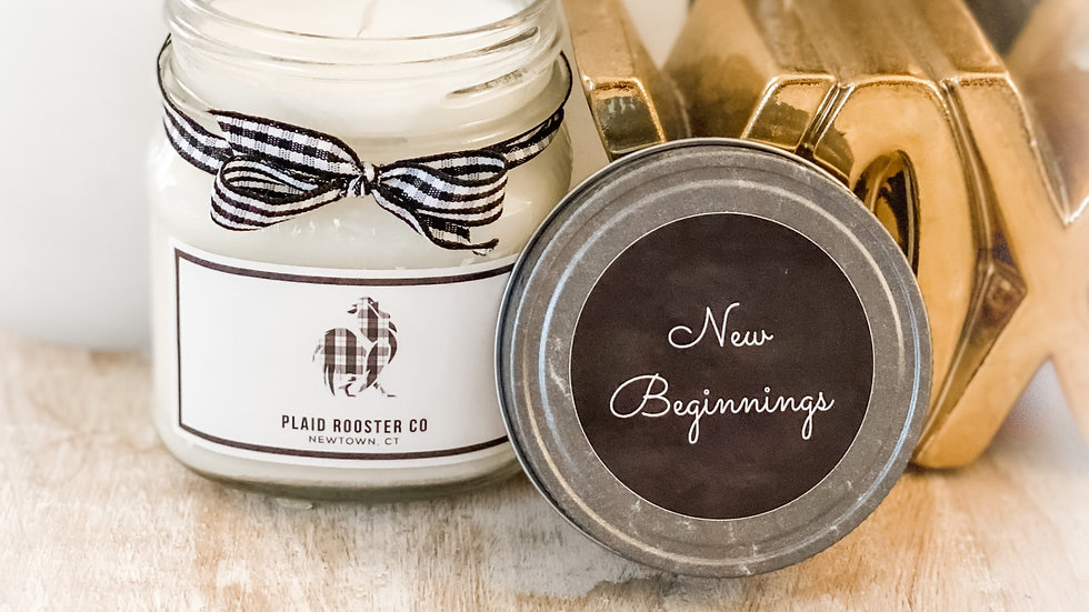 Plaid Rooster New Beginnings Candle - 8oz mason jar