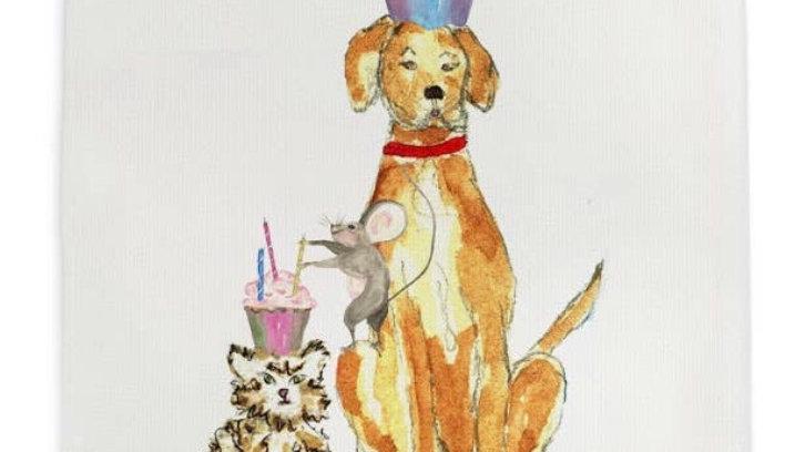 French graffiti Happy Birthday Dishtowel
